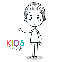 Cute little boy drawing vector