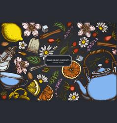Design on dark background with cinnamon lemons vector