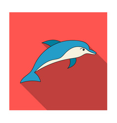 Dolphin icon in flat style isolated on white vector