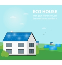 Eco house banner Sun energy generation vector