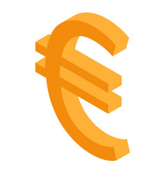 euro money sign icon isometric style vector image
