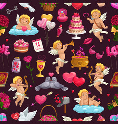 february 14 seamless pattern love valentines day vector image