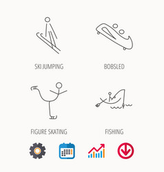 fishing figure skating and bobsled icons vector image
