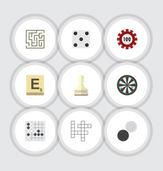 Flat icon play set of chequer guess poker and vector