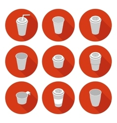 flat icons set isometric plastic Cup vector image