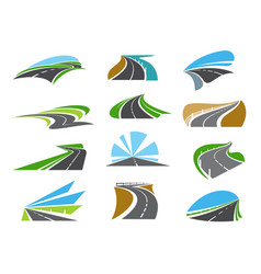 freeway road straight and winding highway icons vector image