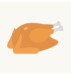 Fried turkey on the white background flat vector