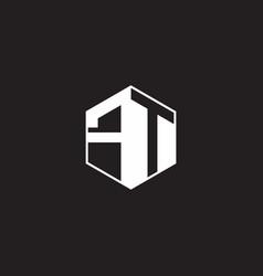 Ft logo monogram hexagon with black background vector