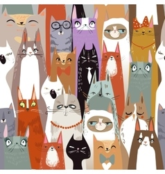 Funny cartoon seamless cats pattern vector