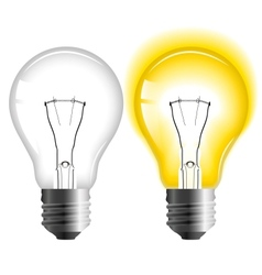 Glowing and turned off light bulb vector image