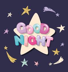 good night cute design for pajamas sleepwear t vector image
