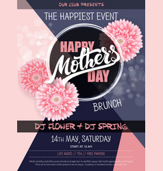 Hand drawn mothers day event poster with vector