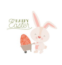 happy easter label with rabbit isolated icon vector image