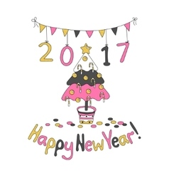 Happy New Year greeting card with spruce vector image