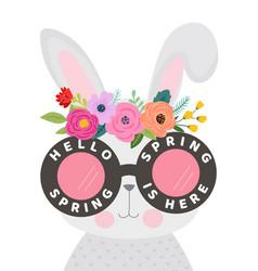 Hello spring card with cute bunny in eyeglasses vector