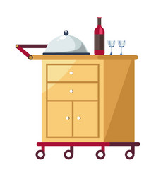 Hotel tray on cart with covered dish and wine vector
