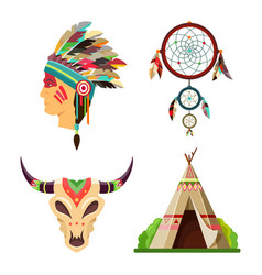 indian icons tribal objects or symbols set vector image