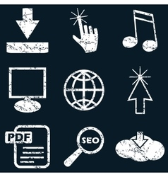 Internet icon set white grunge vector