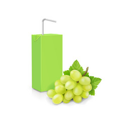 juice carton pack and white sweet grape branch vector image