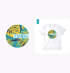 letter hawaii colorful summer graphic t-shirt vector image