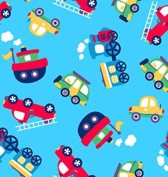 Little transport seamless pattern vector image