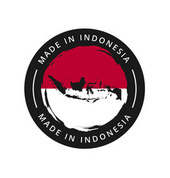 made in indonesia round label vector image