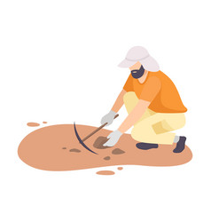 Male archaeologist scientist character working on vector