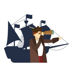 Man christopher with monocular and ships sails vector