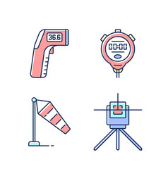 Measuring tools rgb color icons set vector