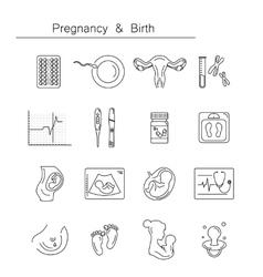Medicine and pregnancy line icon vector image
