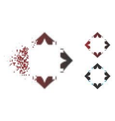 Moving pixel halftone tent camp icon vector