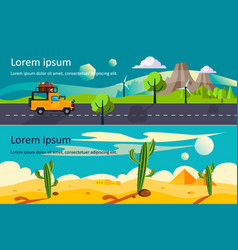 Nature tranquil desert and mountain landscape vector