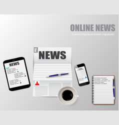 online news of a cup coffee vector image