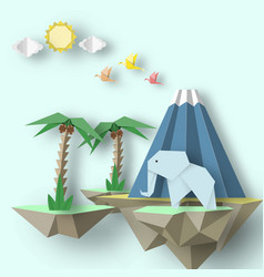 Paper origami creative scene with soars islands vector