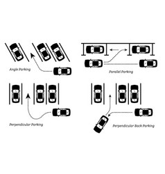 Parking methods and ways depict car park in vector