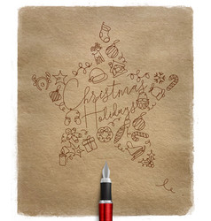 pen line drawing christmas tree toy star craft vector image