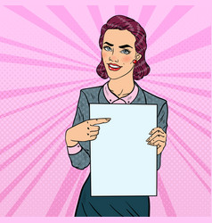 pop art business woman pointing on paper sheet vector image