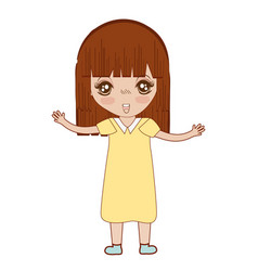 Pretty girl with hairstyle and dress vector