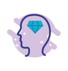 Profile with diamond mental health line style icon vector