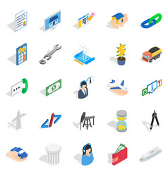 Profit icons set isometric style vector