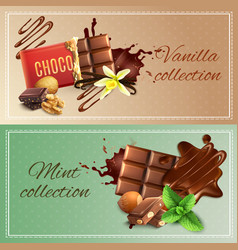 Realistic chocolate banners vector