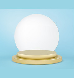 realistic gold round podium winner pedestal vector image