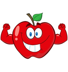 Red Apple With Muscle Arms vector image