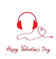 Red headphones and cord in shape heart vector