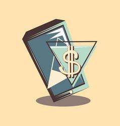 Retro shopping cellphone dollar symbol tag vector