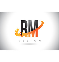 Rm r m letter logo with fire flames design and vector