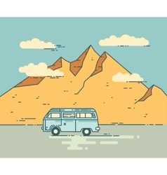 Road trip flat line vector image