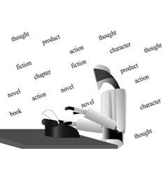 Robot writer at the table vector image