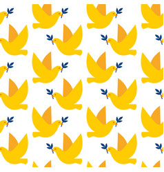 seamless pattern with doves of peace vector image