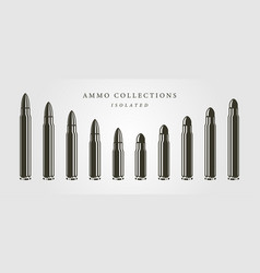 set bullets ammunition object isolated designs vector image